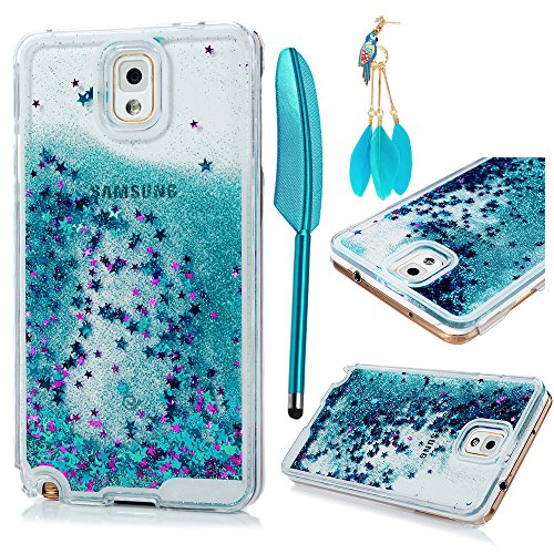 MOLLYCOOCLE Galaxy Note 3 Case,Bling Sparkle Glitter Transparent Clear PC Hard Plastic Back Lovely Quicksand and Cute Star Flowing Liquid Cover for Samsung Galaxy Note 3/N9000 - Blue (Cute Case Note Rubber 3)
