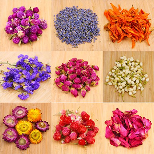 9 Bags Naturally Dried Flowers for Aromatherapy Scented Candles Coloring, DIY Natural Soy Wax Candle, Candle Making, DIY Soap, 100% Pure Nature Flowers, AAA Food Grade, Flowers Tea, Rose Flowers