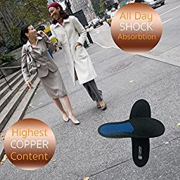 Copper Compression Anti-Fatigue Foot Insole. GUARANTEED Highest Copper Content Orthotic Shoe Insoles / Inserts. Patent Pending. Support Standing, Running, Sports, Plantar Fasciitis Mens Shoe Size 8-13