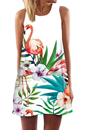 9dc0cdb1e0757 Pivaconis Women Crew-Neck Simple Flamingo Printed Sleeveless Dresses one US  XS