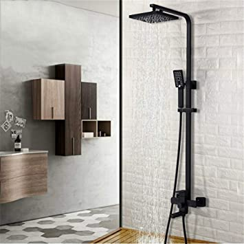 MTYLX Water-Tap Bath Shower Systems Bathroom Shower System Wall Mounted Shower Faucet Taps with Rain Shower Head Set and Spray Nozzle