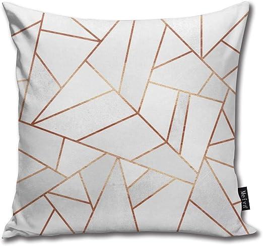 Funda de cojín decorativa, diseño de piedras blancas, líneas de cobre, 45,7 x 45,7 cm: Amazon.es: Hogar