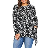 Londony Tops for Womens,Ladies O-Neck Rose Print Loose Fitting Henley Shirts Long Sleeve Autumn Irregular Hem Blouse