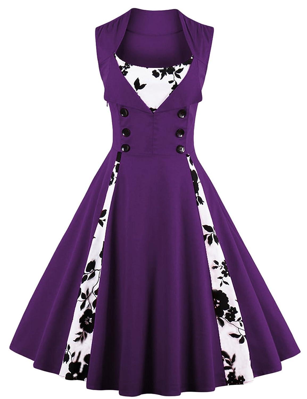 vkstar® Vintage 50 para vestido de noche elegante con botones ...
