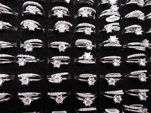 AIHIQI Fashion Wholesale Lots Rhinestone Cz Finger Ring for Mens Womens Gift (10pair (No Box)) by AIHIQI (Image #4)