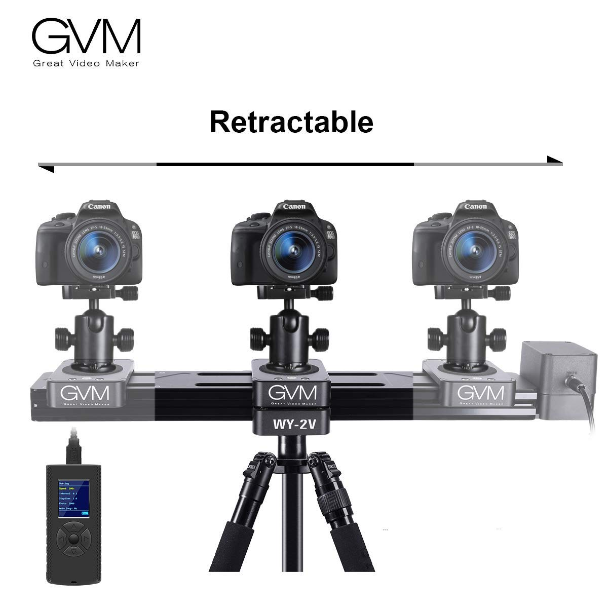 GVM Motorized Camera Slider Mini Size Track Rail Provides 6.5 inch can be Retract and Extend to 13 inch Length, idea for Outdoor Video Shooting, Travelers, Photographers, filmmakers by GVM Great Video Maker