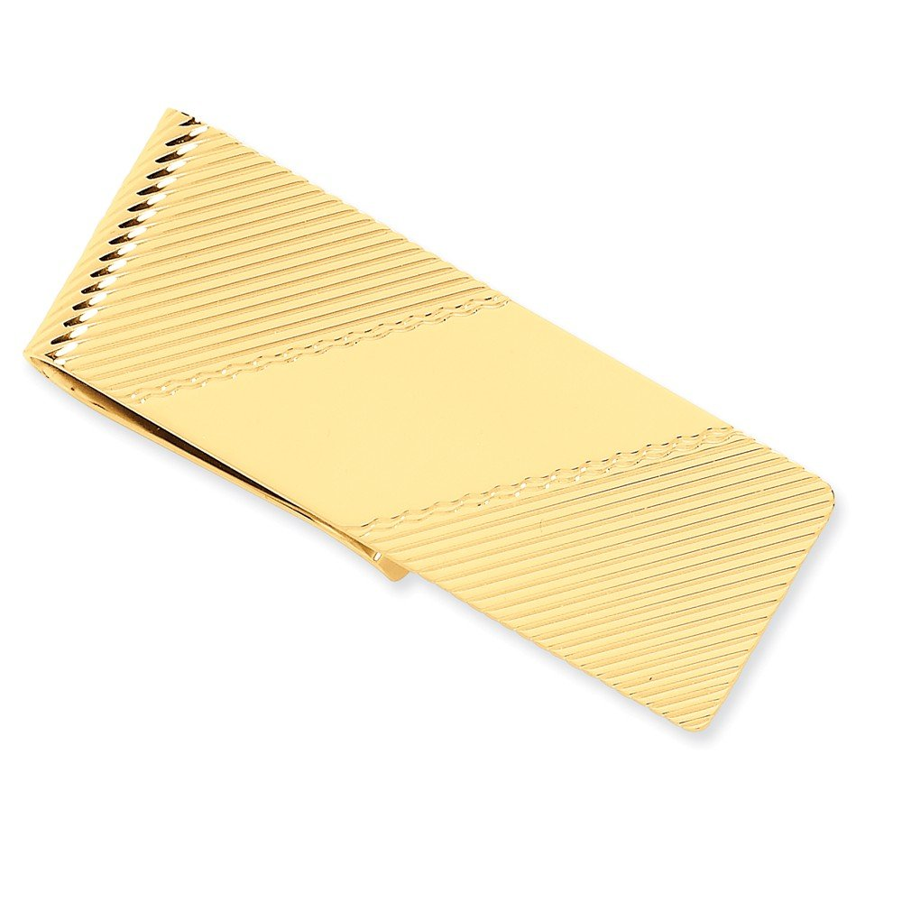 14k Yellow Gold Money Clip with Diagonal Stripes