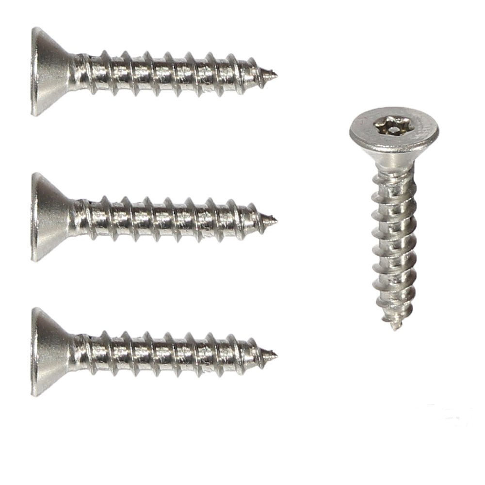 Qty 25 Number 8 Size x 1-1//2 Length by Fastenere #8 x 1-1//2 Flat Head Torx Security Sheet Metal Screws Stainless Steel Tamper Resistant