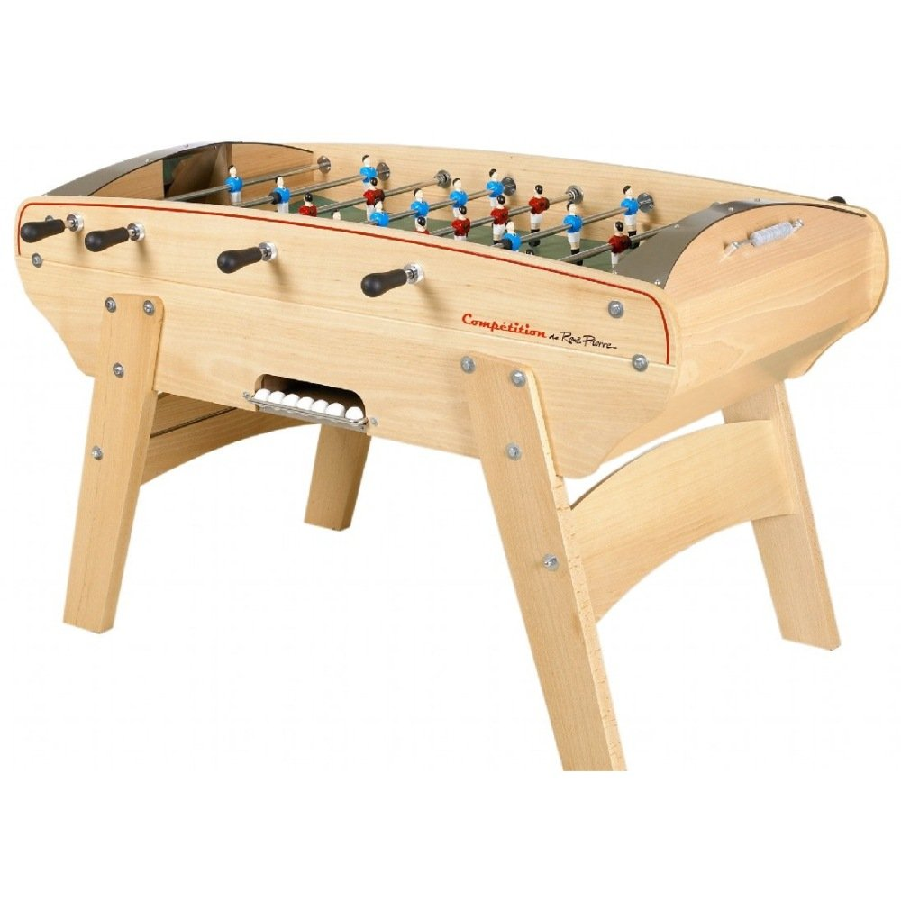 René Pierre Competition Foosball Table with Safety Telescoping Rods with Ergonomic Handles, 2 Cork Foosballs, and Single Goalies