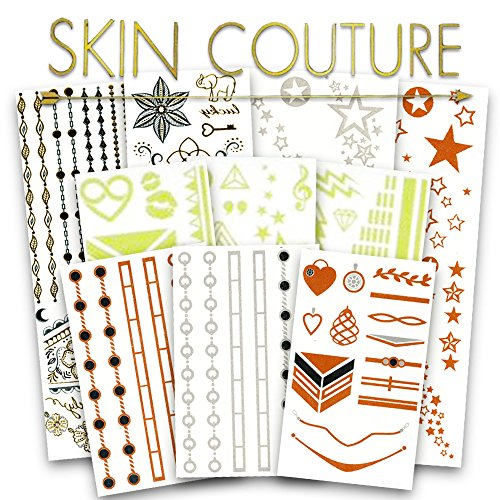Flash Metallic Temporary Tattoos Bulk Super Set ~ Over 500 Deluxe Festival Tattoos for Women Adults, Foil, Glow-in-the-Dark, Gold and Silver, White, Color, Boho, Mandala, and More]()