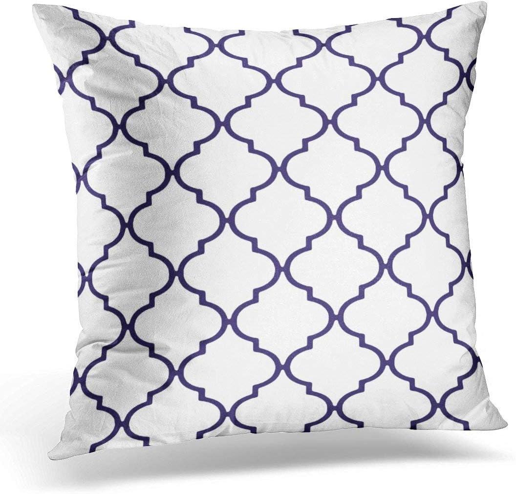 antoipyns Throw Pillow Cover-Elegant Navy Blue and White Classic Quatrefoil Decorative Pillow Case-Home Decor Square (18 x 18 Inch ) Pillowcase