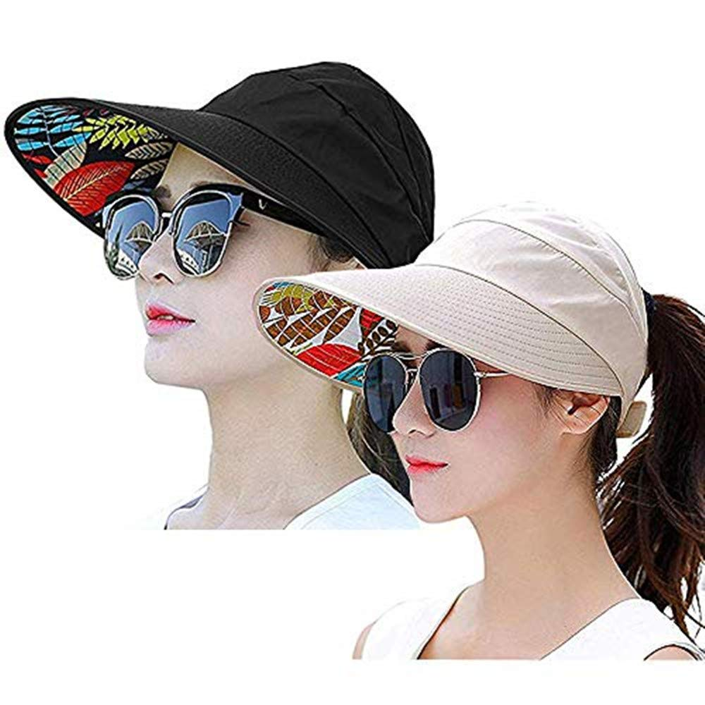 Visor Cap for Women Wide Brim UV Protection Summer Beach Sun Hats (Black+Beige)