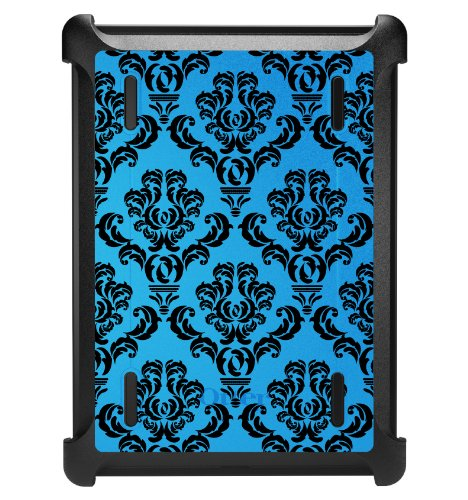 (DistinctInk Case for iPad Air 1 - OtterBox Defender Custom Black Case with Cover and Screen Protector - Blue Black Damask Pattern - Floral Damask Pattern)