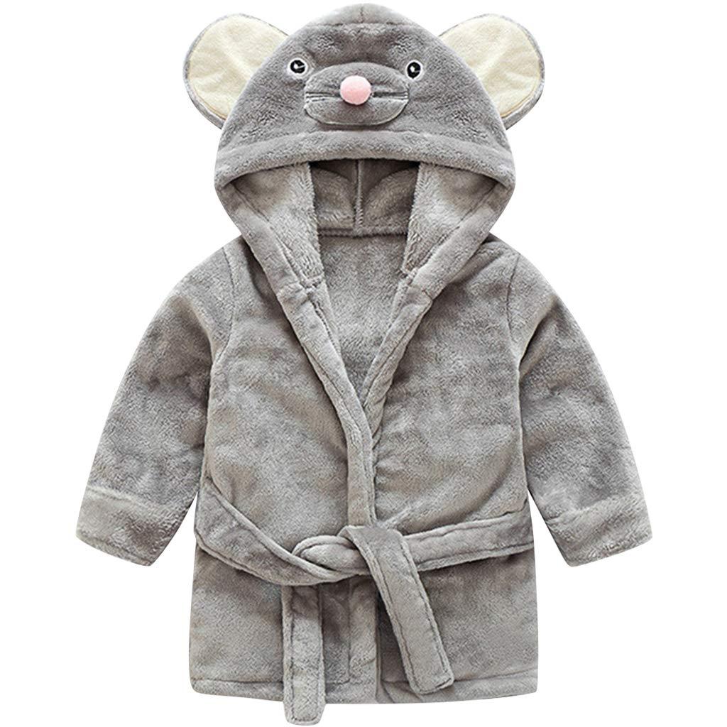 Bebé Niños Albornoz Batas de Baño - Niñas Invierno Franela Pijama con Capucha Cálido Suave Ropa de Dormir Patrón de Animales Traje de Dormir
