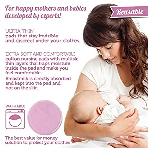 Happy Nursing Pads - Reusable and Washable Bra Pads for Breastfeeding Mothers - Super Soft and Waterproof
