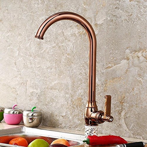 Hlluya Professional Sink Mixer Tap Kitchen Faucet The copper cold water faucet antique kitchen faucet with high single ceramic faucet antique golden taps