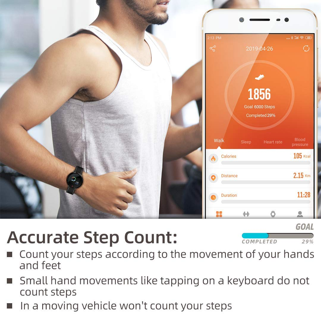 maxtop Smart Watches for Women - Heart Rate Monitor Blood Pressure Sleep Monitor Fitness Tracker Compatible with Android and iOS - Black by maxtop (Image #5)
