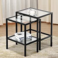 Yaheetech Pair of Modern Glass Nesting Tables Black Metal Frame with Storage Shelf (Set of 2)