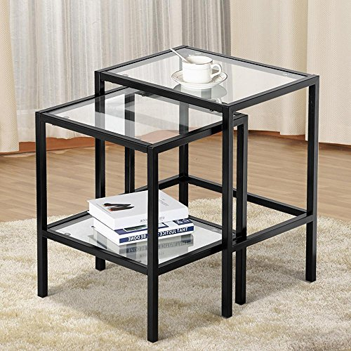 Topeakmart Set of 2 Modern Black Metal Glass Top Nesting Side End Tables with Storage Shelf (Iron Glass Side Table)