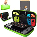 Orzly Carry Case Compatible with Nintendo Switch - Green Protective Hard Portable Travel Carry Case Shell Pouch for Nintendo Switch Console & Accessories