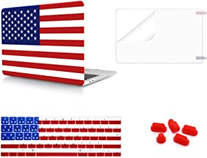 WYGCH 4 in 1 Plastic PC Hard Shell Case& Keyboard Cover&Screen Protector&Dustproof Plug Compatible New Mac Pro 13 Inch with Touch Bar A2159/A1989/A1706 2019 2018 2017 2016 Release,American Flag
