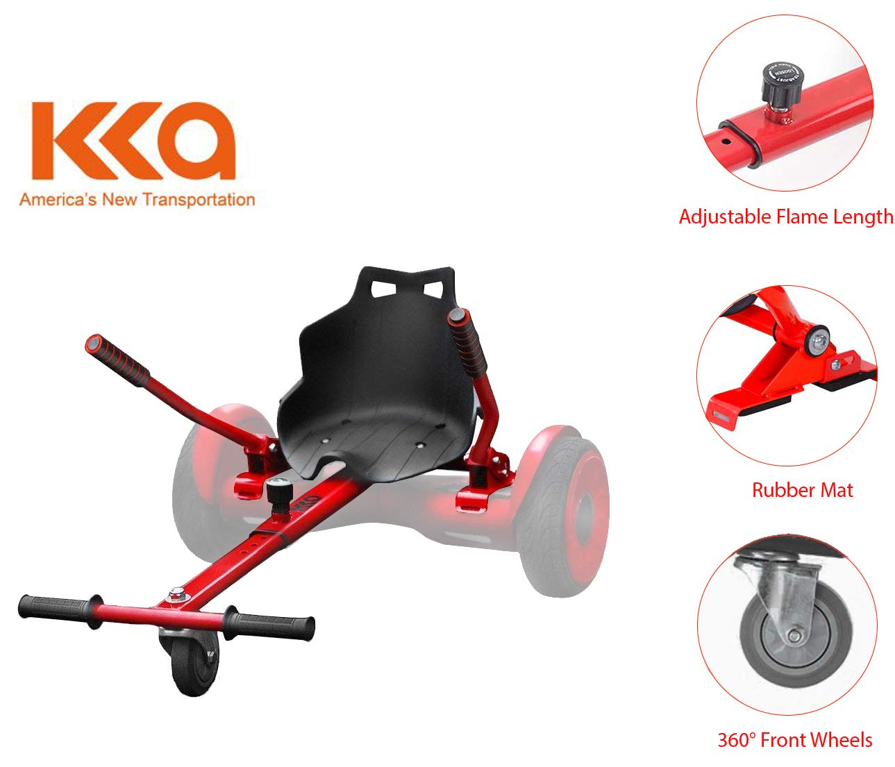Hoverboard Go Cart, Hoverboard Accessories, Fun for Kids Fits 6.5 8 10 RED