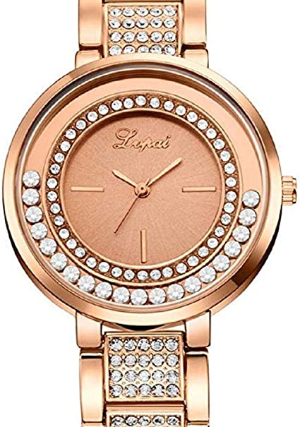Scpink Mujeres Relojes de Cuarzo, Relojes de Damas de liquidación Crystal Rhinestones Puede Mover Relojes Femeninos Reloj de Regalo analógico de Acero Inoxidable (Oro Rosa): Amazon.es: Relojes