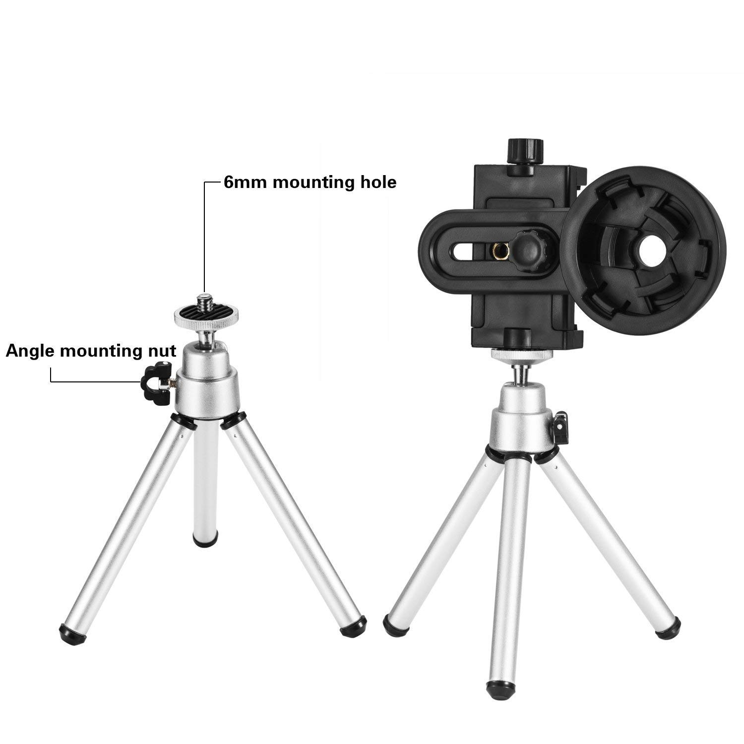 Microscopes /& Image Capturer Support Eyepiece Diameter 26 to 46mm Occer Universal Telescope Smartphone Adapter with Tripod Mount,Cell Phone Adapter Compatible with Monocular,Binoculars,Spotting Scopes