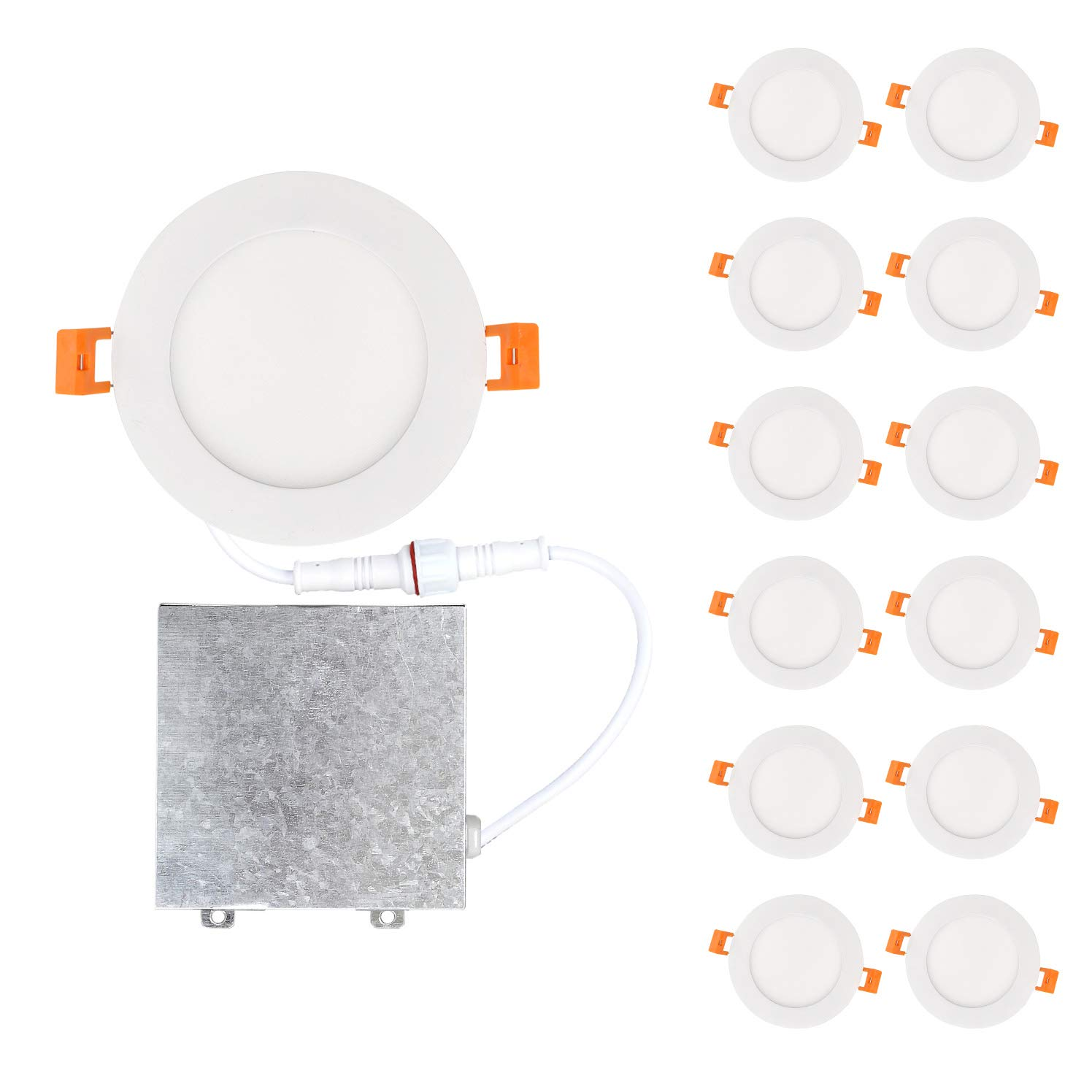 OSTWIN 4 inch 12W (60 Watt Repl.) IC Rated LED Recessed Low Profile Slim Round Panel Light with Junction Box, Dimmable, 4000K Bright Light 900 Lm. No Can Needed (12 Pack) ETL & Energy Star Listed
