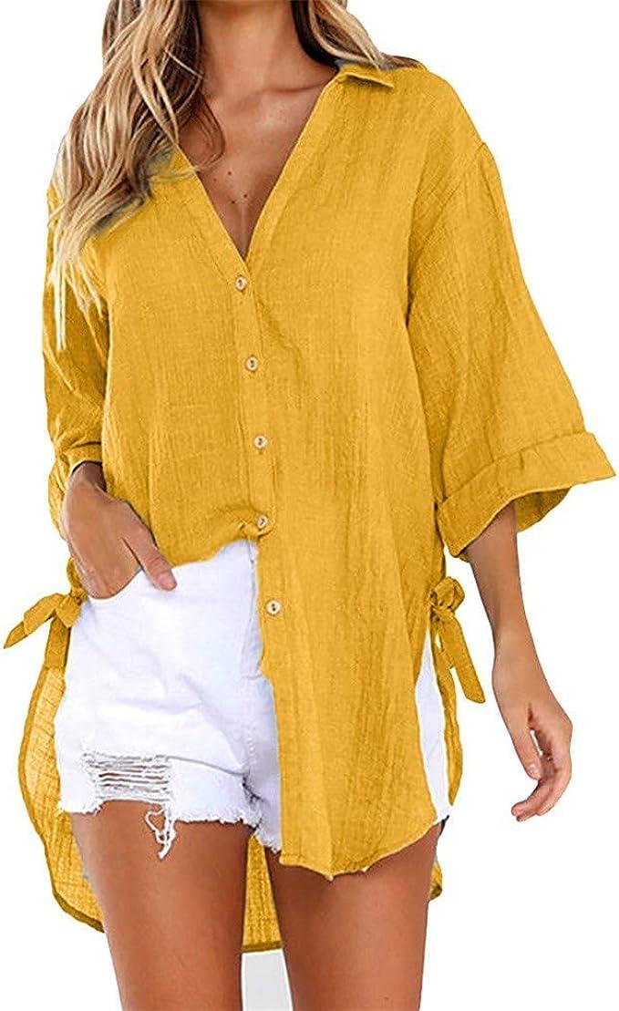 St.Dona_Women Blouse Blusa para Mujer, Suelta con Botones, Camisa ...
