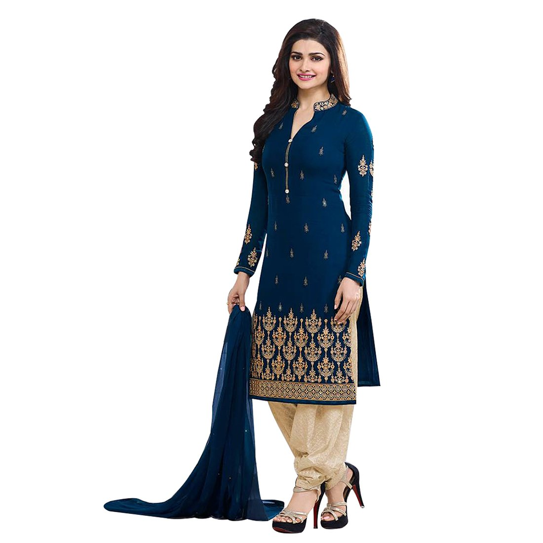 Buy Designer Desk Women S V Neck Designer Georgette Embroidered Semi Stitched Straight Salwar Suit With Palazzo Navy Blue At Amazon In