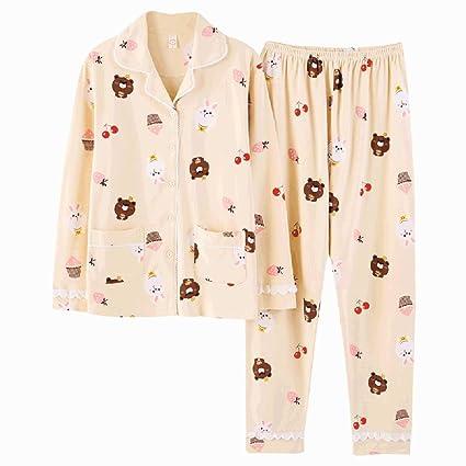 Pijamas camisón de manga larga de manga larga pijamas de algodón damas de otoño e invierno
