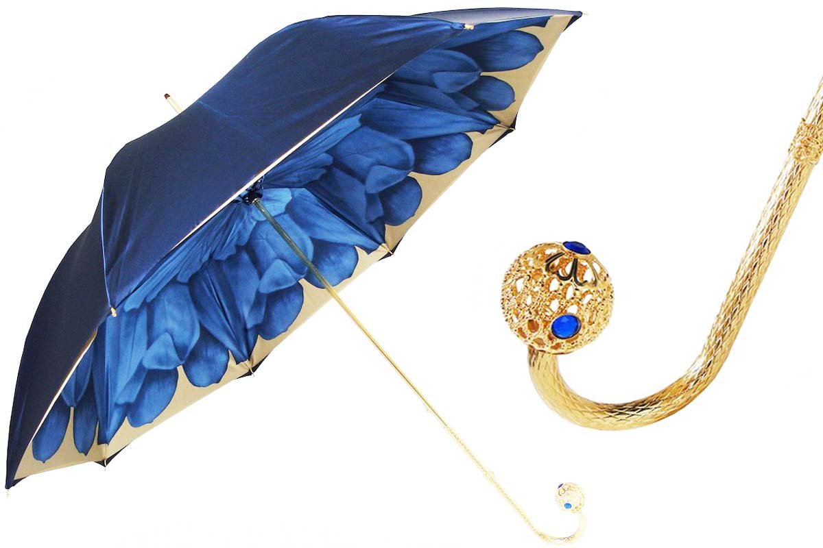 Pasotti Umbrella - By Pasotti Ombrelli - Limited Edition Dahlia Flower - Navy