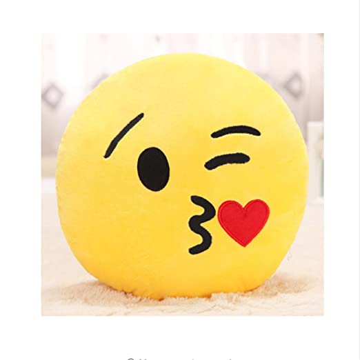 PENVEAT Almohada Emoji de 30 cm con forma redonda, color ...