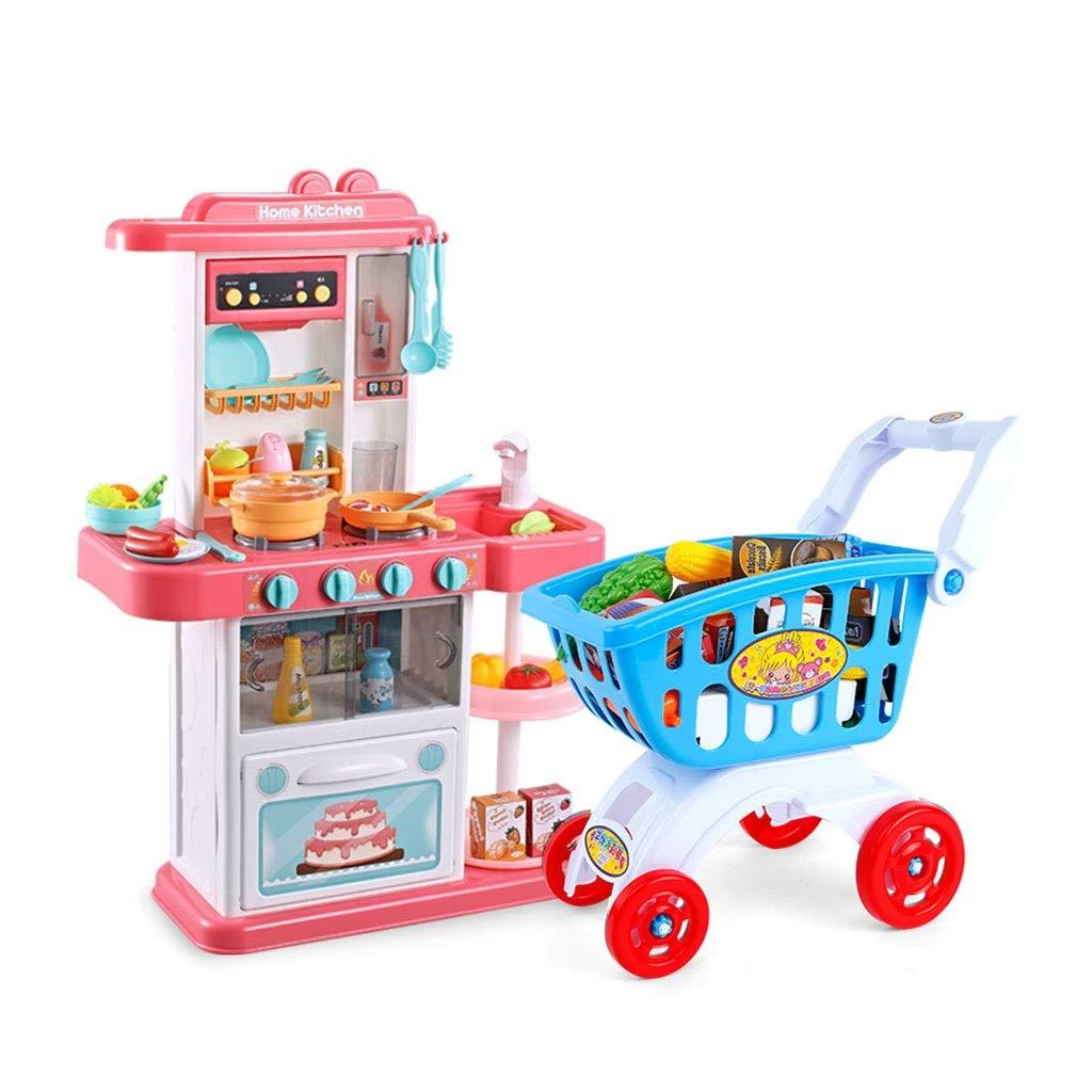調理器具食器 プラスチックキッチンプレイセット キッチン玩具/教育キッズキッチン用品 リアル蛇口 シミュレーションショッピングカート 32アクセサリー ギフト (Color : Pink, Size : 48*20*74cm) 48*20*74cm Pink B07SQTNF1L