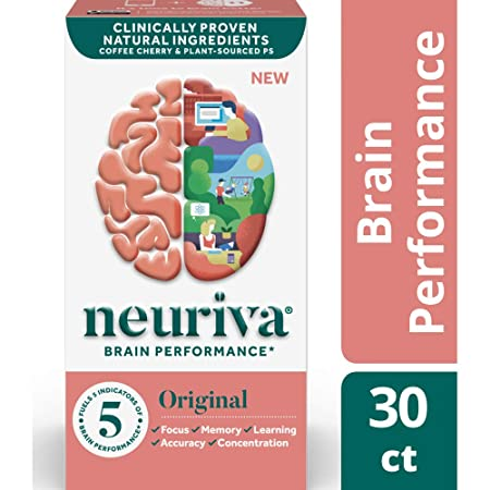 Fast-Acting Brain Support Supplement – NEURIVA Original 30Count in a Bottle , Helps Support 5 Indicators of Brain Performance Focus, Memory, Learning, Accuracy Concentration, with Neurofactor