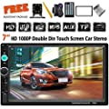 Double Din Car Stereo 7 Inch Touch Screen Headunit Mp5 Player Receiver Tf Fm Radio Car Audio Compatible With Bluetooth Support Backup Rear View Camera Steering Wheel Remote Control Mirror Link