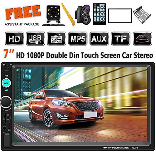 - Double Din Car Stereo 7 Inch Touch Screen Headunit MP5 Player Receiver TF FM Radio Car Audio Bluetooth Support Backup Rear View Camera Steering Wheel Remote Control Mirror Link