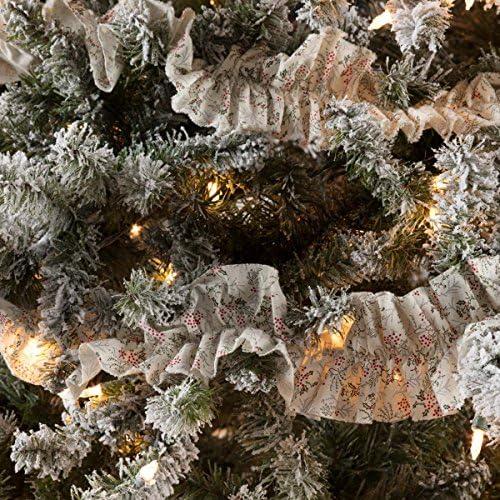 VHC Brands Farmhouse Holiday Decor - Carol White Garland Set of 3 Grey