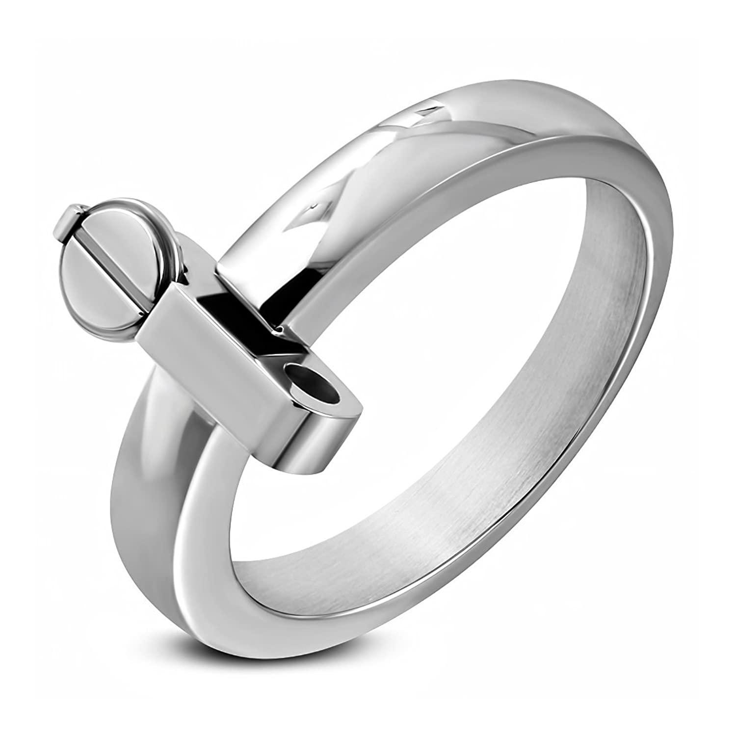 Stainless Steel Movable Screw Hinged Geometric Modern Ring