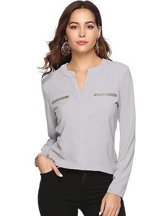 1002fe3b6154 Aibrou Damen Chiffon Bluse mit V-Ausschnitt Langarmshirt Casual Elegant  Blusen Hemd Oberteil Tops Shirts mit Reißverschluss