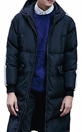 04b0e7c0a ONTBYB Men Winter Warm Knee-Length Hooded Long Down Jacket Parka ...