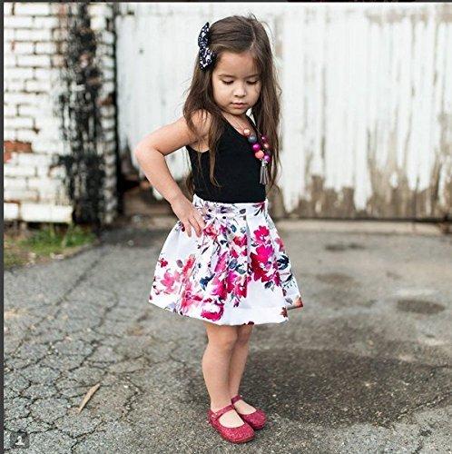 Infant Toddler Kids Girls Outfits Black Sleeveless Vest Top Floral Skirt Sets