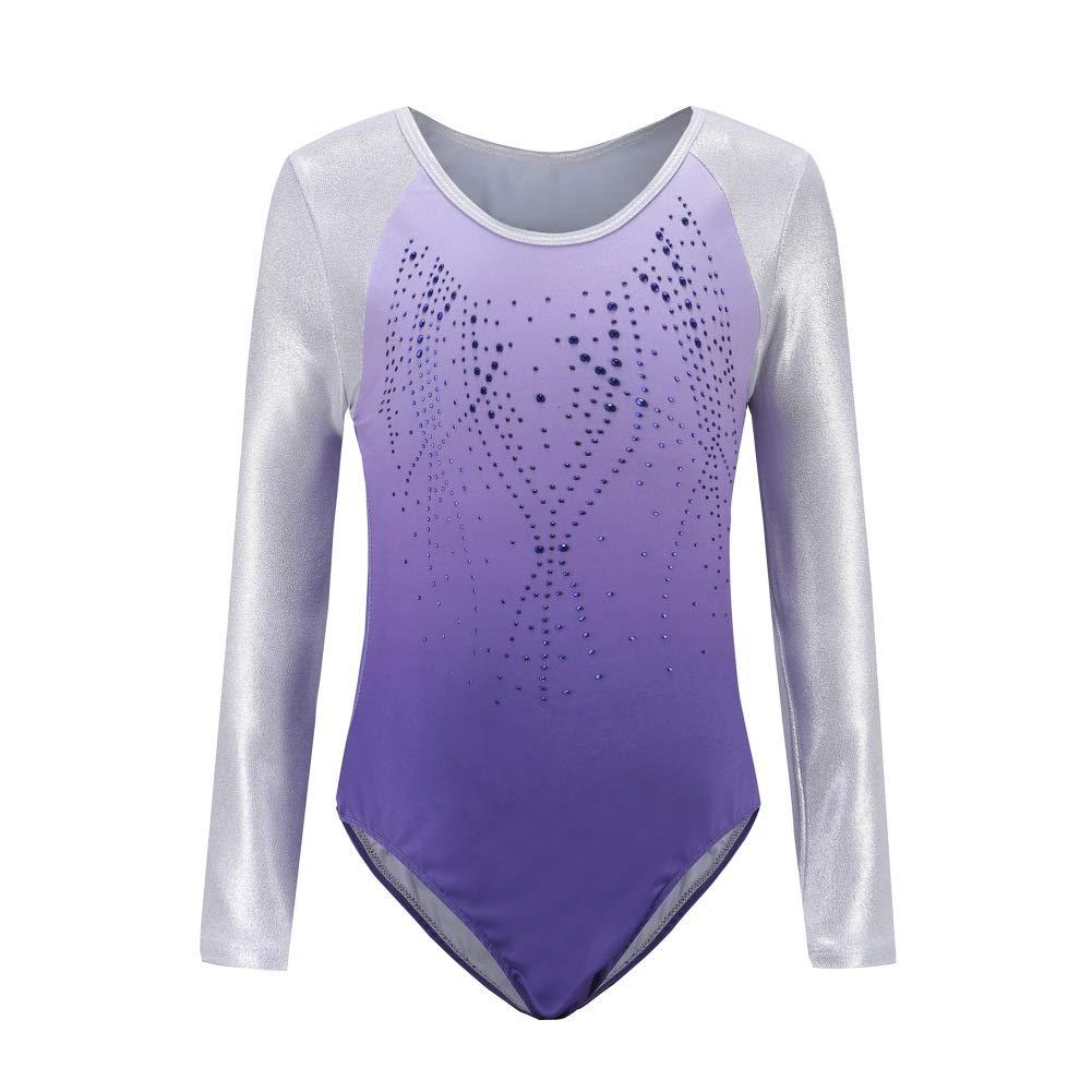 Hougood Gymnastic Leotards for Girls Ballet Dance Bodysuit Stripes Diamond Ballet Leotard Dance Costumes Gymnastics Jumpsuit Dancewear Age 3-14 Years