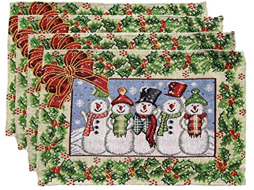 - Winter Holiday Christmas Place Mats - Woven Tapestry Set of 4 (5 Snowmen with Holly Border)
