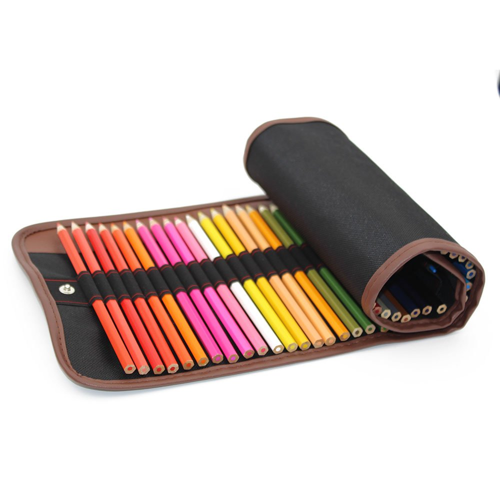 Lápices de color & Art CASE SET | 48 Vivid artista grado lapices de acuarela con bolsa de lona, Blending Brush, sacapuntas de lápiz, extensor, | ideal para adultos, libros para colorear y como mantener & Carry Case