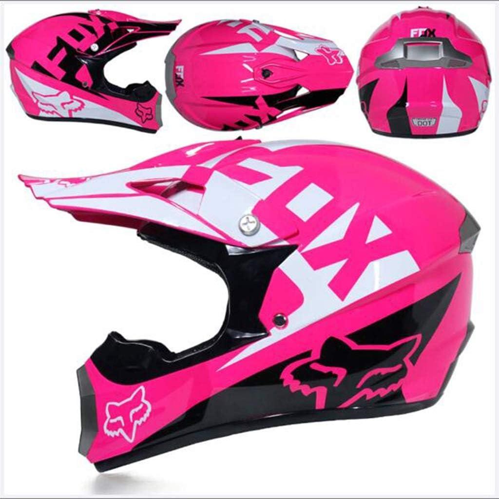 Color : M Zhangbangqiangshop Motocross Adulto Casco MX Motocicleta Casco Scooter ATV Casco Road Race D.O.T Certified Pink con Guantes M/áscara a Prueba de Viento Goggle 4 Piezas