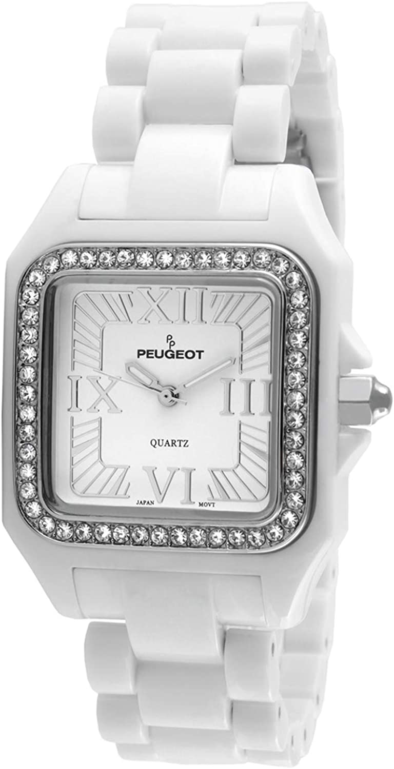 Peugeot Women's Tank Shape Square Watch - Hypoallergenic Acrylic Ceramic Case and Bracelet with Swarovski Crystal Bezel