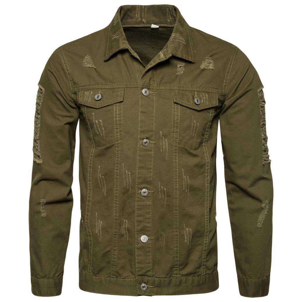 Challyhope Men Fashion Ripped Hole Long Sleeve Demin Trucker Jacket Jean Coat Outwear
