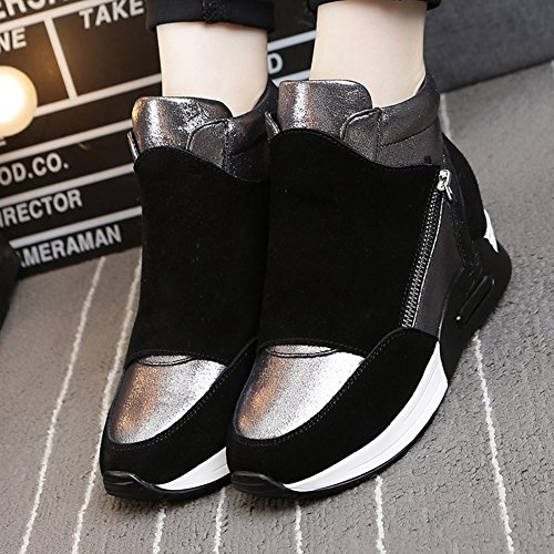 Giy Donna Moda Alta Cima Sneaker Piattaforma Aumento Altezza Cuneo Scarpe Sportive Casual Nere